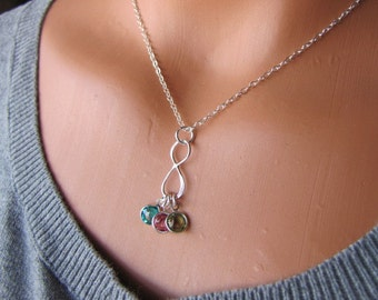 Infinity Necklace,-Birthstone Jewelry,-To Infinity And Beyond Necklace-Children's Birthstones Necklace- Mother Necklace