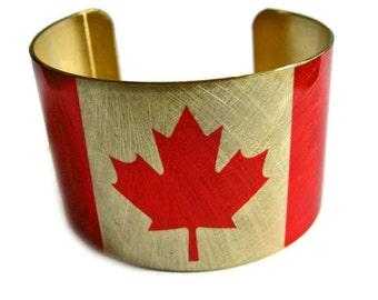 Canada FLAG cuff bracelet Canadian Brass or Aluminum Heritage Gifts for her