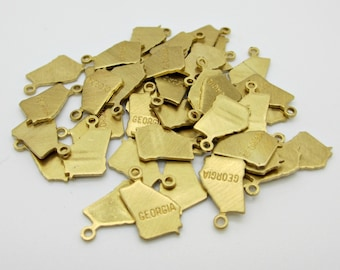 Georgia State Charm, Raw Brass, 5 pieces, Made in the USA
