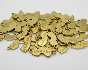 New Jersey State Charm, Raw Brass, 5 pieces, Made in the USA