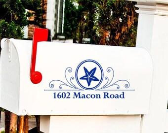 Custom MailBox Decal Sticker - ONE Decal - Nautical Design, Starfish and Swirls, Address Sticker, Beach decor