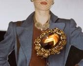 Vintage Brooch Smokey Topaz Rhonestone Brooch Miniature Oval 50s Glass Cabochon Brooch Pin