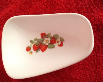 """Ceramic Spoon Rest with Strawberries  5"""" Long And 3 1/2"""" Wide at Top of Spoon"""