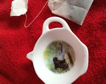 "Ceramic Teabag Holder  Black Bear on a log 4.5"""