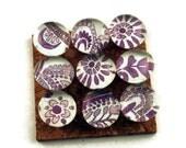 Glass Push Pins  Thumb Tacks Cork Board Pins in  Purple Paisley  (P39)