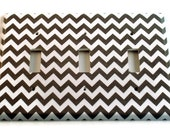 Triple Light Switch Cover Wall Decor Switchplate Switch Plate in  Gray Chevron  (154T)