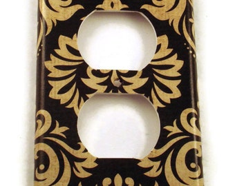 Outlet Cover Wall Decor Switchplate Light Plate in Black and Tan Damask (089O)