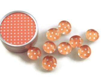 Glass Push Pins  Thumb Tacks Cork Board Pins in Tangerine Polka Dots  with Gift Tin (PT98)