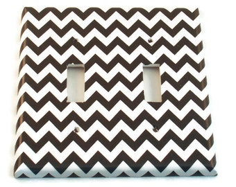Double  Light Switch Cover Wall Decor Switchplate Switch Plate in  Black Chevron  (150D)