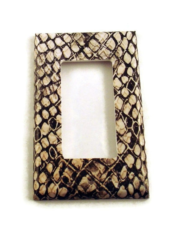 Rocker Switch Plate  Wall Decor  light switch cover in  Snakeskin (202R)
