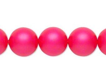 4 Neon Pink Swarovski Crystal Pearl Beads, 12mm round.