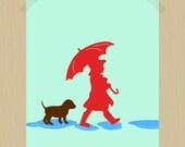 Printable A Girl and Her Chocolate Lab Dog Art Printable Dog Print Pet Print Two Puddle Jumpers 8 x 10 Daughter Print Girl Nursery Print
