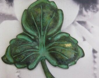 Vintage Hand Aged Verdigris Patina Three leaf Clover 2270VIN x1