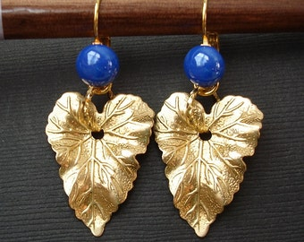 Lapis  and Brass Leaf Earrings.