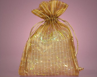 12 Pack 3X4 inch Organza Striped Drawstring Bags Inch Size Great For Gifts, Favors, Sachets, Weddings