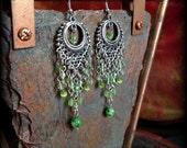 green tribal chandelier earrings