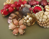 Vintage Earring Supply Destash in Shades of Pink, Peach and Cream, lot of 14