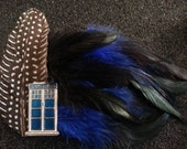 Doctor who inspired,Tardis,  Blue, Blue fascinator, scifi,Steampunk, Cosplay,Police Box