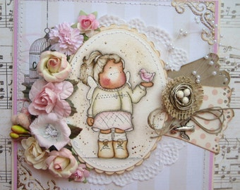 OOAK Tilda with Bird Hand Made Greeting Card