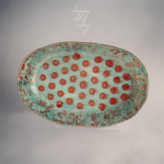 11 x 17 inch handmade ceramic serving platter in Gypsy Queen pattern
