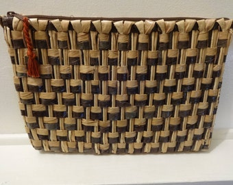 Vintage Straw Clutch Purse made In Philippines