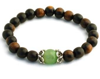 Tiger Ebonywood Wrist Mala Bracelet with Green Aventurine Guru Bead and Filigree Bead Caps - Wood Yoga Jewelry