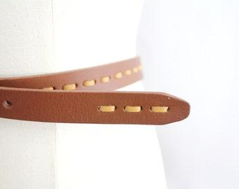Vintage Tooled Leather Belt | Rustic Brown Leather Skinny Belt | XL