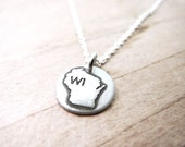 Tiny Wisconsin necklace, silver state jewelry Wisconsin pendant charm