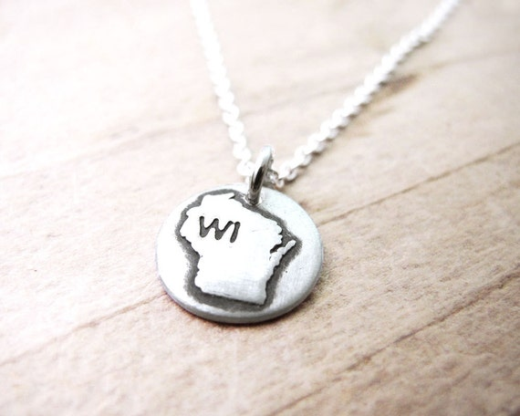 il 570xN.484595240 7hpi Tiny Wisconsin necklace, silver state jewelry Wisconsin pendant charm by lulubugjewelry