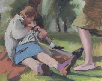 Original Figure Painting of Couple Kissing in Park, Oil Paint on Handmade Wood Panel