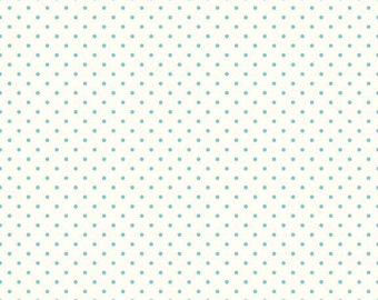 Riley Blake Designs, Swiss Dots in Cream Aqua  (C600 20)