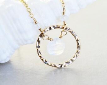 Moonstone Circle Necklace, White Gemstone Necklace, June Birthstone