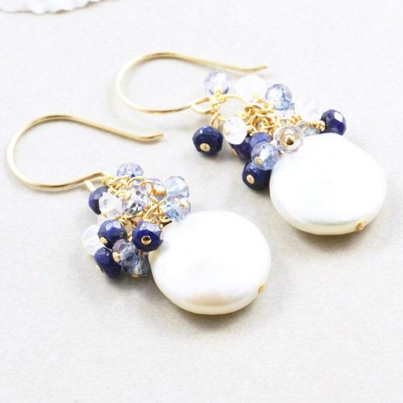 Coin Pearl Dangle Earrings, Sapphire Pearl Earrings, June Birthstone, September Birthday