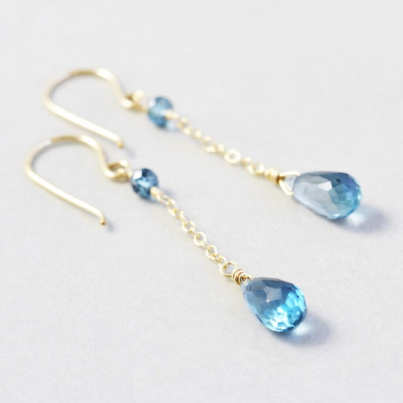 Blue Topaz Dangle Earrings, December Birthstone, London Blue Topaz
