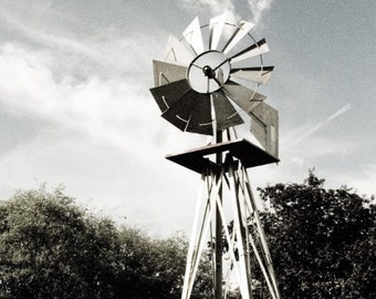Windmill with Trees and Blue sky Nature Rustic Wall Art Room Decor - Windmill a Fine Art Photograph by Sarah McTernen