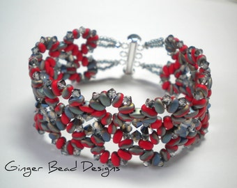 Red and Gray Crystal Beaded Bracelet