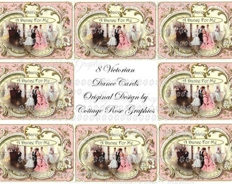 Victorian Dance Card digital download collage Vintage Pink  Roses ATC ACEO gift tags ECS buy 3 get one free