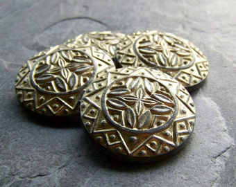 Vintage Gold Grey Ornate Carved Etched Lucite Circle Cabochons-4