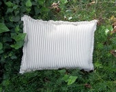 Farmhouse Pillow Navy Ticking Pillow French Country Decorative Pillow Rustic Cabin Decor Ecru Ticking Raggedy Throw Pillow Torn Edge 12x16