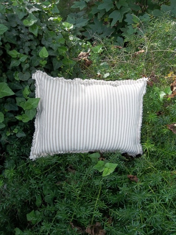 Farmhouse Pillow Navy Ticking Pillow French Country Decorative Pillow Rustic Cabin Decor Ecru Ticking Raggedy Throw Pillow Torn Edge 12x16