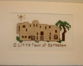 Completed Finished Cross Stitch Christmas Nativity Greeting Holiday Card  O Little Town of Bethlehem With Star
