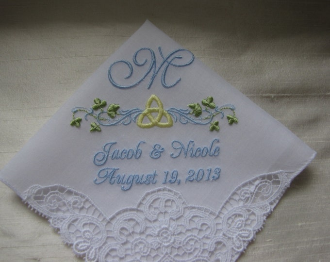 Celtic Monogrammed Wedding Handkerchief with Swiss lace trim
