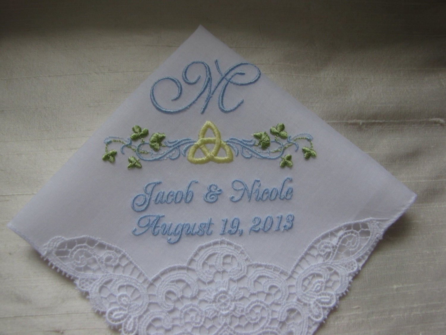 Wedding Gift Calculator The Knot : Celtic Monogrammed Wedding Handkerchief with Swiss lace trim