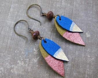Color Block Feather Earrings, Long Lightweight Dangle Ultra Suede Earrings