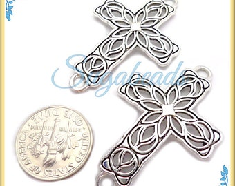 3 Filigree Antiqued Silver Sideways Cross Connectors 42mm
