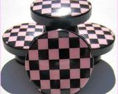 Pink Checkered Knobs • Checkered Drawer Knobs • Pink • Black • Dresser Knobs • Drawer Pulls •