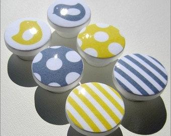 Bird Knobs • Stripe Drawer Knobs • Yellow • Grey • Polka Dot Dresser Knobs • Drawer Pulls •