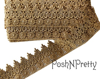"3"" Vintage Gold Lace netting trim Crown photo prop elegant"