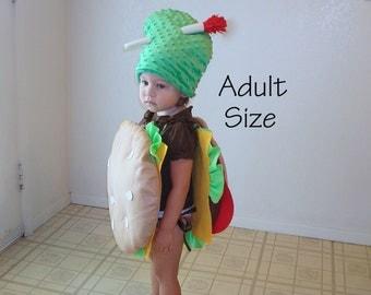 Adult Costume Halloween Cheeseburger Hamburger Pickle Toothpick Food Costume Burger Costume Teen Mens Costume Womens Costume
