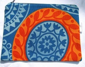 Large flat pouch in orange and blue abstract print